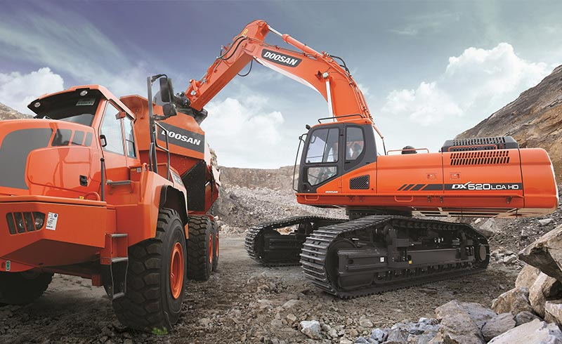 The Doosan DX520LCA is suited for quarrying and soft rock mining applications such as coal.